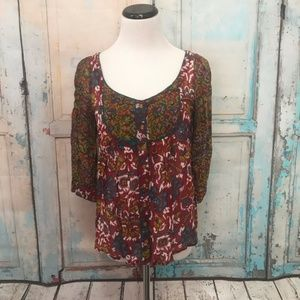 Anthropologie Viola Peggy's Cove Ikat Blouse